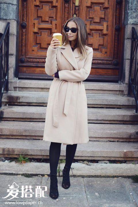 冬季系带大衣搭配